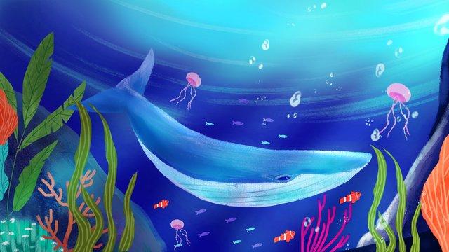 सुंदर पानी के नीचे की दुनिया में गहरे समुद्र व्हेल का हाथ चित्रण है चित्रण छवि