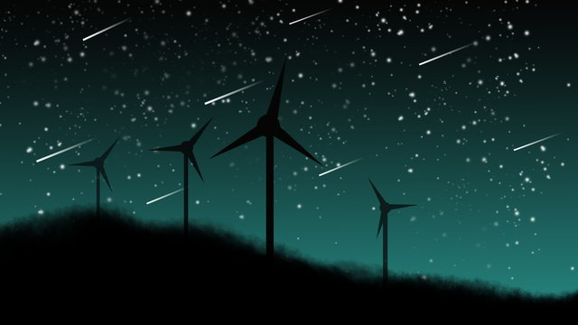 Beautiful windmill starry sky, Beautiful, Windmill, Starry Sky illustration image