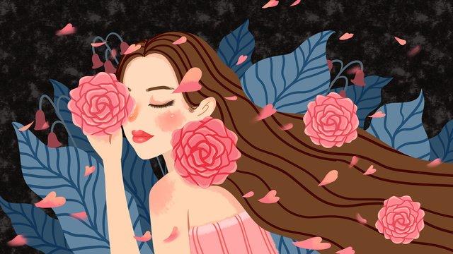 Иллюстрация девушки цветочного дня Ресурсы иллюстрации