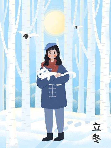 겨울에 고양이를 들고 소녀 삽화 소재