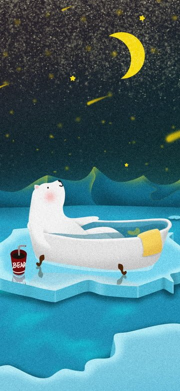 winter day sign polaris bathing penguin starry night good morning fresh cold llustration image
