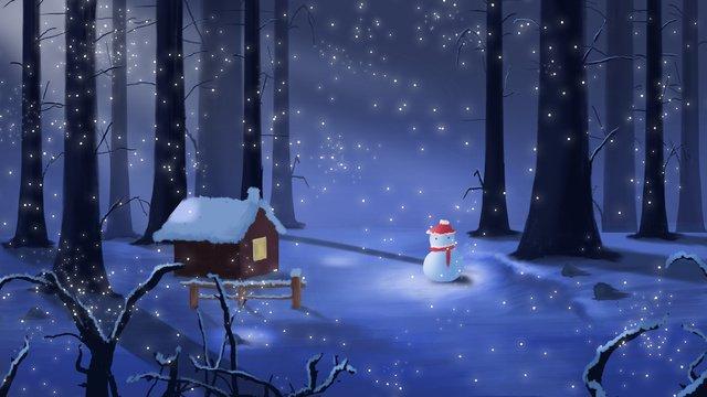 겨울 눈 아름다운 산 안부 삽화 소재