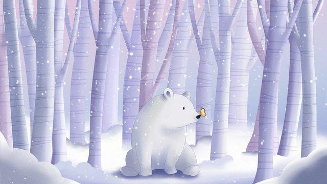 सफेद भालू और तितली छोटे ताजा इलाज प्रणाली चित्रण वॉलपेपर के साथ सर्दियों चित्रण छवि चित्रण छवि