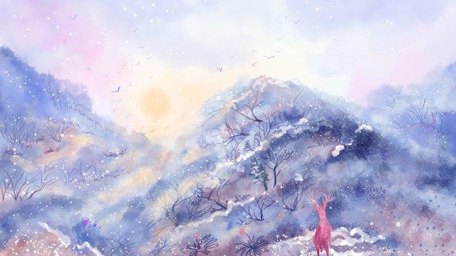 जल रंग की बनावट छोटे ताजे पहाड़ी जंगल सर्दियों का चित्रण चित्रण छवि