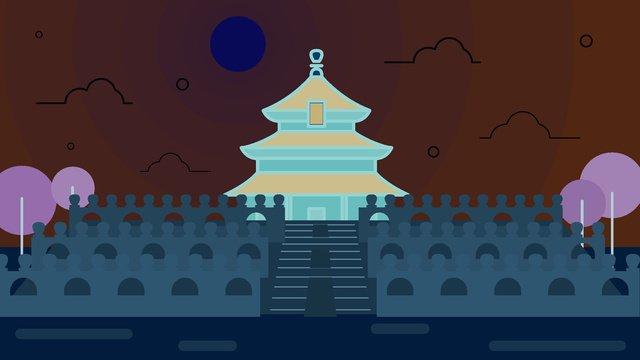 베이징 천국의 사원 삽화 소재 삽화 이미지
