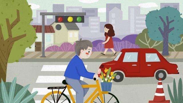 都市交通安全交差点シマウマ横断車歩行者専用サイクリング自転車  車  歩行者 PNGおよびPSD illustration image