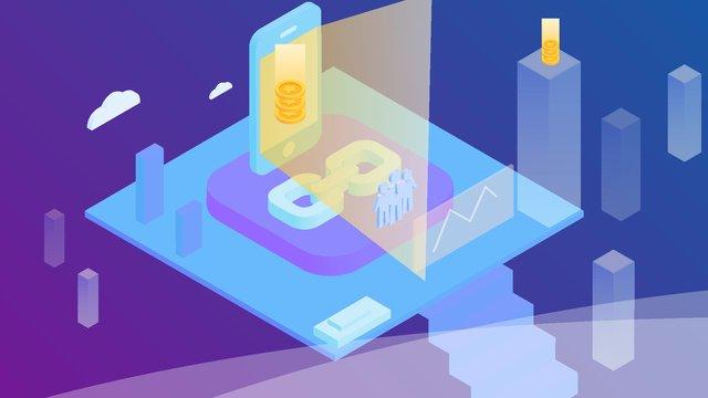blockchain bitcoin financial technology 25d Изометрические Аксонометрические иллюстрации Ресурсы иллюстрации Иллюстрация изображения