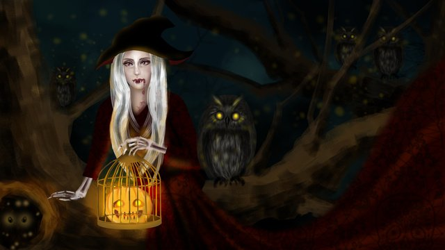 halloween bird lồng pumpkin witch magic Ảo thuật animal black forest Hình minh họa