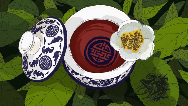 Original blue and white bowl of tea culture to eat go hand-painted illustration, Blue And White, Cover Bowl Of Tea, Tea Culture illustration image