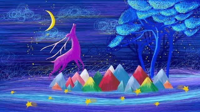 Healing coil impression dream scene month deer original illustration, Blue, Healing, Night Sky illustration image