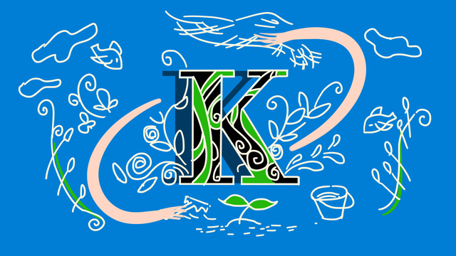 青いストローク文字邂□水色文字k擬人化図 イラスト素材