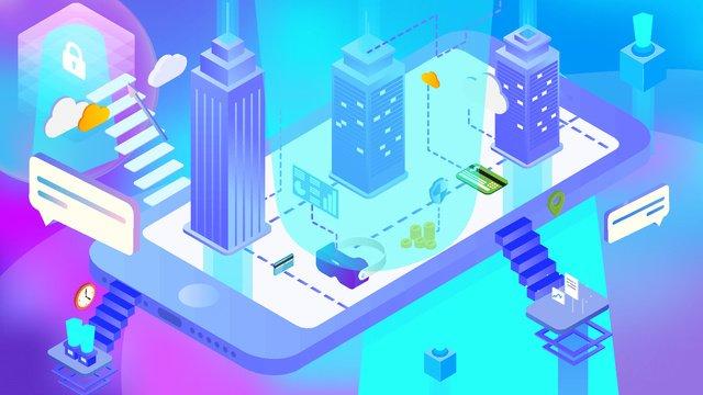 blue gradient technology future 2 5d mobile phone illustration ai llustration image