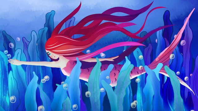 Blue beautiful dream healing system watercolor wind red hair mermaid, Blue Sea Bottom, Dream Bubble, Red Mermaid illustration image