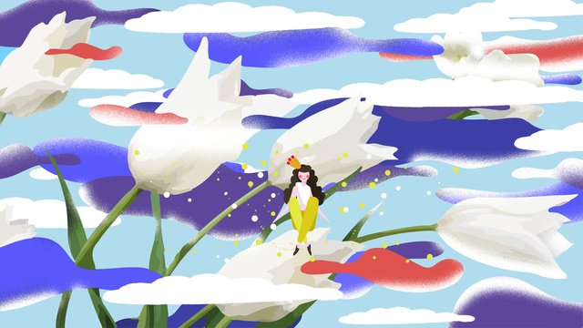 good morning girl little man princess blue sky white clouds tulips ภาพ