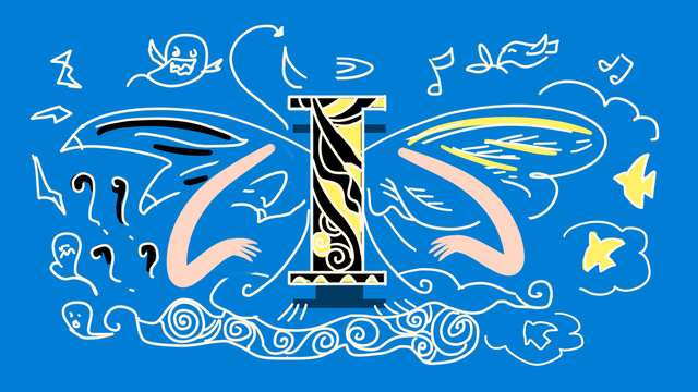 ब्लू स्ट्रॉक्ड लेटर blue लाइट i anthropomorphic उदाहरण चित्रण छवि