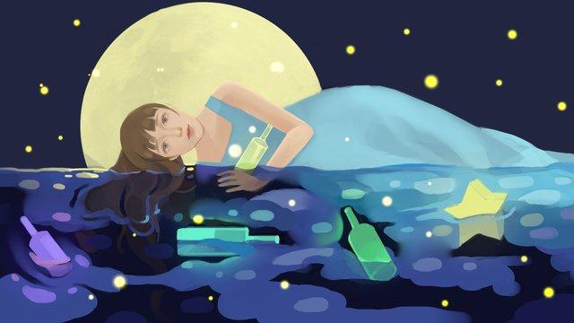 ドリフトボトルのイラストと青い暖かい癒しの女の子 イラストレーション画像 イラスト画像