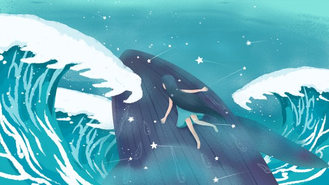 Original hand-painted illustration cure blue deep sea whale with girl, Blue, Whale, Deep Sea Whale illustration image