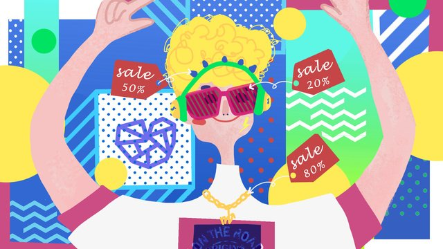 Cool boy taobao carnival pop style fashion illustration, Blue, Yellow, Green illustration image