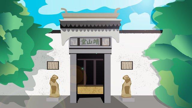simple atmosphere ancient architecture celebrity former residence illustration llustration image illustration image