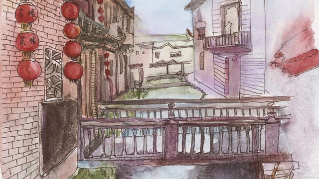 Architectural ancient wind xiaoqiao water red lantern llustration image illustration image