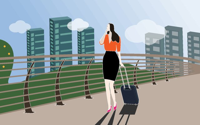 Workplace white-collar workers on a business trip, Business, Business Trip, White Collar illustration image