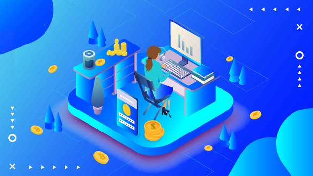 Business office blue cartoon illustration, Business, Cartoon, Blue illustration image