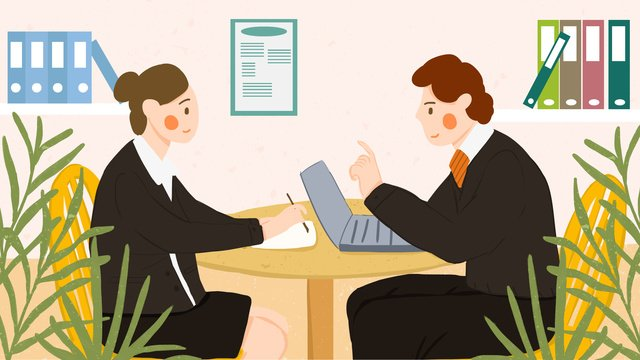 Business cooperation colleague boss shaking hands office flat style illustration llustration image