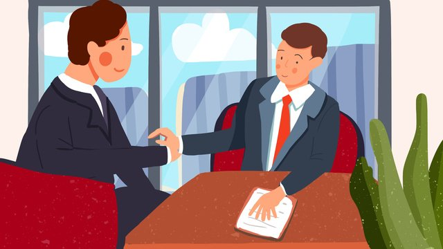 Business cooperation man boss shaking hands office flat style illustration, Business Cooperation, The Man, Boss illustration image