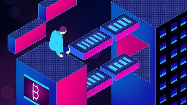 business finance blockchain technology sense 25d hand painted poster illustration llustration image