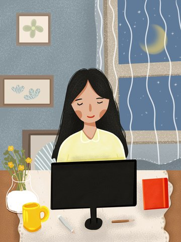 商務扁平風可愛卡通女孩在辦公 插畫圖片