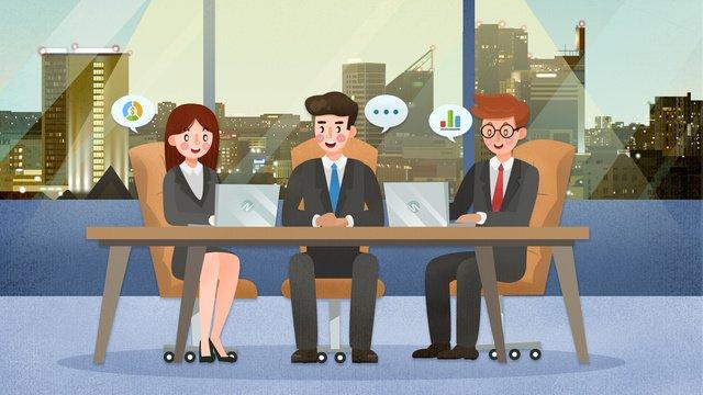 Business meeting scenario illustration, Business, Jobs, Meeting illustration image
