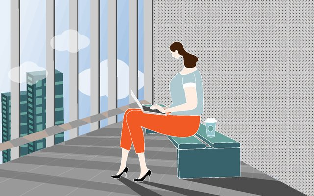 Business mobile office white collar, Business, Mobile, Office illustration image