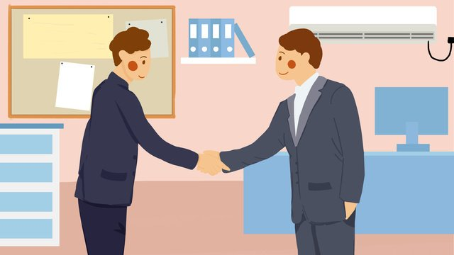 Business negotiation cooperation man boss shaking hands office flat wind illustration llustration image