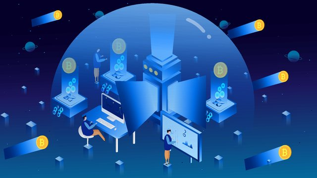 Business office creative finance technology bitcoin 2.5d illustration, Business Office 2.5d Material, Financial Technology, Bitcoin illustration image