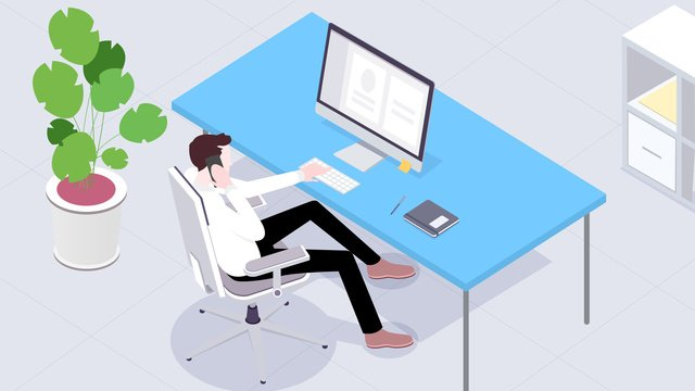 Vector flat business office, Business Office, Business, Office illustration image