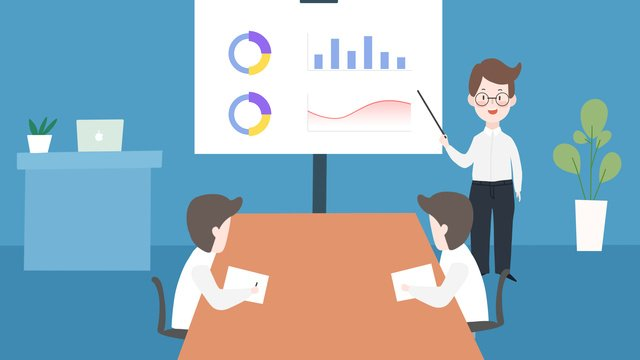 Business office meeting character scene cartoon illustration llustration image