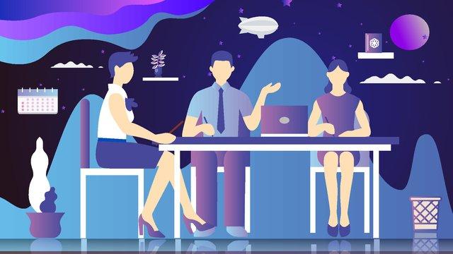 Business office vector cartoon illustration, Business, Office, Computer illustration image