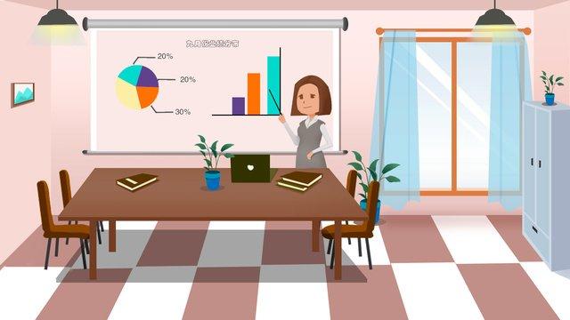 Business office flat illustration, Business Office Flat Illustration, Flat Style, Small Fresh illustration image