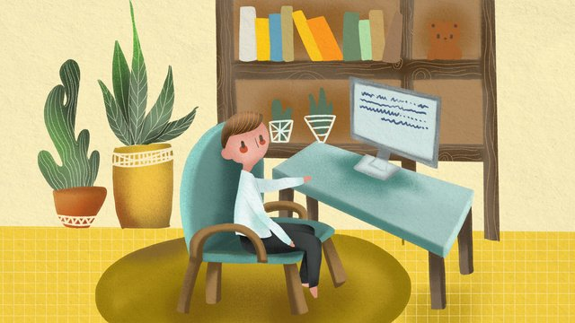 Business office work people home scene illustration, Business Office, Jobs, Home illustration image