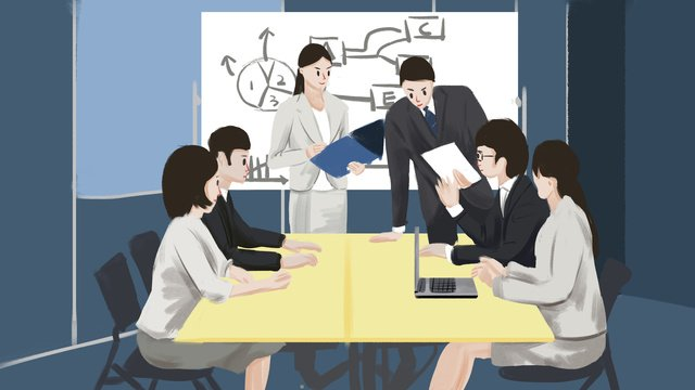 Business office meeting illustration, Business Office, Meeting, Office illustration image
