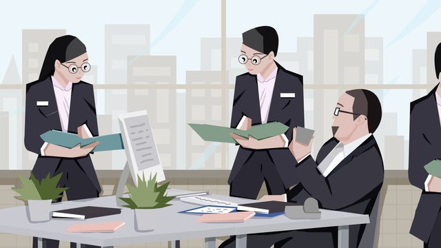 Office business colleagues illustration, Business, Office, Office illustration image