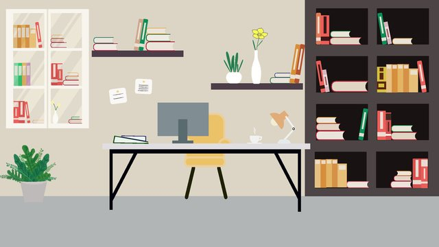 business office scene simple and elegant llustration image illustration image