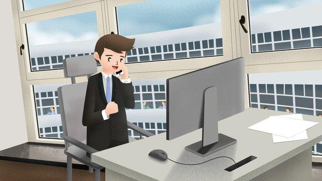 original hand drawn illustration business office scene llustration image illustration image