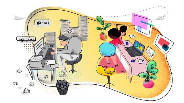 商務辦公場景兩種不同的工作氣氛 插畫素材 插畫圖片
