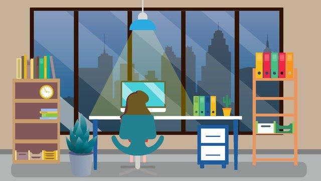 Бизнес офис сцены сверхурочно ночь векторная иллюстрация Ресурсы иллюстрации Иллюстрация изображения
