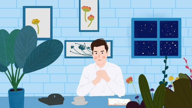 business office scene boy llustration image