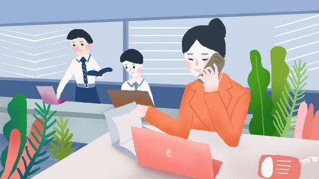 Business office small fresh illustration, Business Office, Scenes, Small Fresh illustration image
