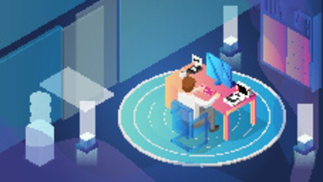 Business office scene 2, Business Office, Working Overtime Late At Night, Scene Gradient illustration image