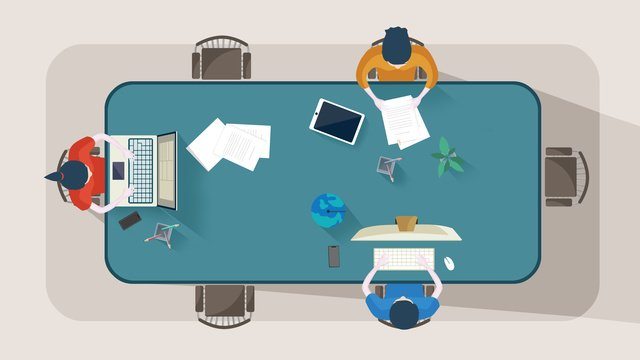 original illustration business office scene desk work people llustration image illustration image