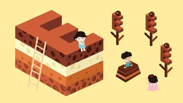 2 5d bánh phô mai tràm thư e illustrator Hình minh họa